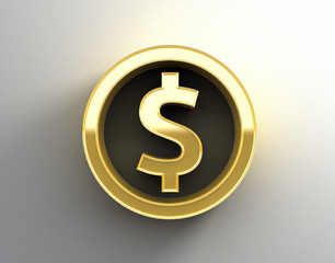 Gold 3D Dollar sign on the wall background with soft shadow