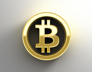 Gold 3D Bitcoin sign on the wall background with soft shadow