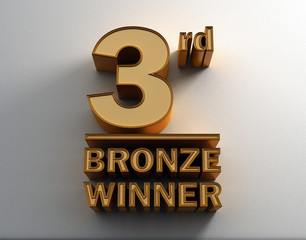 Bronze 3D Word Third on the wall background. 3D render image.
