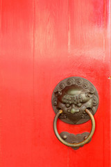 The ancient Chinese dragon head door.
