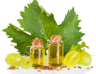 yellow grapes and grape seed oil