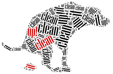Poop cleaning after dog concept