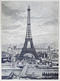 Fototapeta Reprography of a vintage engraved illustration from Eiffel Tower