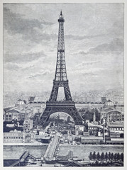 Reprography of a vintage engraved illustration from Eiffel Tower