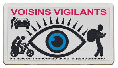 pancarte des voisins vigilants, ouvrez l'oeil !