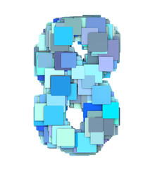3d multiple blue tiled number eight 8 fragmented on white