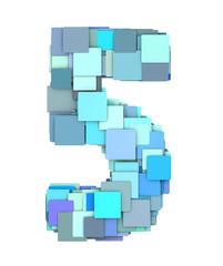 3d multiple blue tiled number five 5 fragmented on white