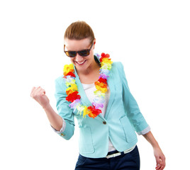 woman with hawaii girlands and sunglasses smiling