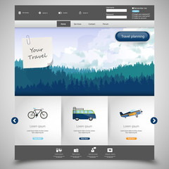 Website template with Landscape Illustraion of hills of conifero