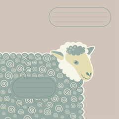 sheep with decorative swirls