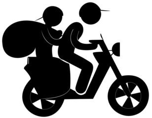 cambrioleur et son complice à scooter