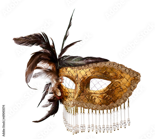 old Venetian mask isolated on white