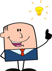 Funny Businessman With A Bright Idea Cartoon Character