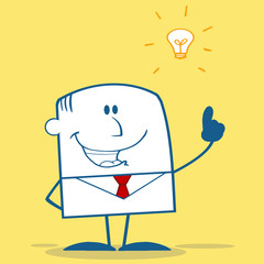Businessman With A Bright Idea Monochrome On Yellow Background