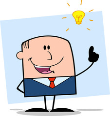 Happy Businessman With A Bright Idea On Background