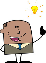 African American Businessman With A Bright Idea Character