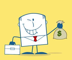 Winking Businessman Holding A Money Bag Monochrome