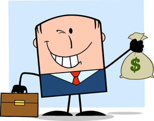 Winking Businessman With Briefcase Holding A Money Bag