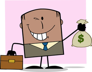 Winking African American Businessman Holding A Money Bag