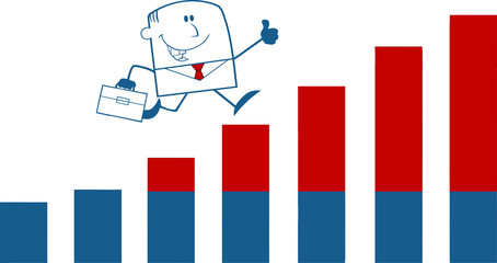 Happy Businessman Running Over Growing Bar Chart