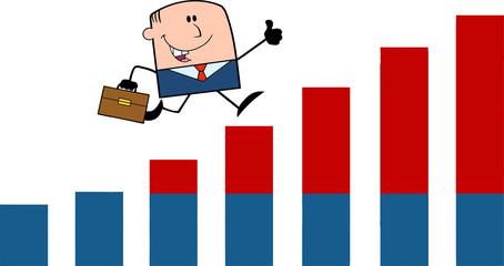 Businessman  Running Over Growing Bar Chart