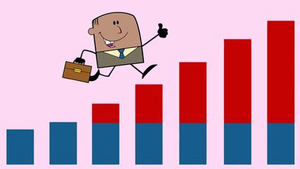 African American Businessman Running Over Growing Bar Chart
