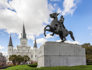 Saint Louis Cathedral and statue of Andrew Jackson, New Orleans,