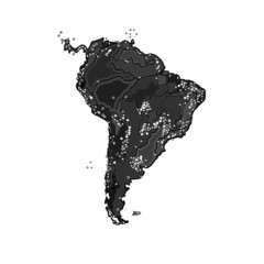 South America at night as engraving vintage vector
