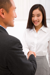 Businesswoman shaking hand with businessman