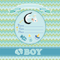 Cute vector card.Newborn boy baby shower