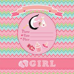 Cute vector card.Newborn girl baby shower