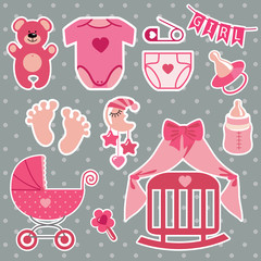 Cute scrapbooking elements for newborn baby girl