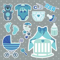 Cute scrapbooking elements for newborn baby boy
