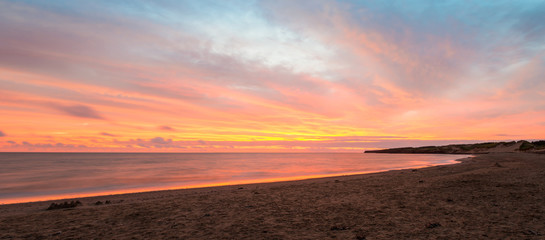 Panorama of Cavendish beach at the crack of dawn