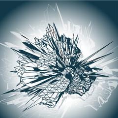 Futuristic 3D explosion concept illustration