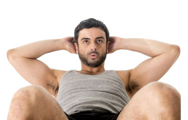 latin sport man wearing doing  sit up or crunch