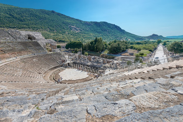 view of Amphitheater  and marble road in Ephesus, Turkey