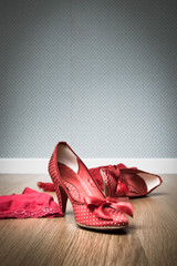 Sensual female shoes and lingerie