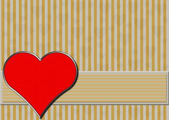 Rotes Chromherz auf gold silbernen Streifen