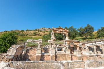 Ruins of the Fountain of Trajan in  Ephesus, Turkey
