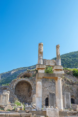 Ruins of pillars on Kuretes Street  in Ephesus, Turkey.