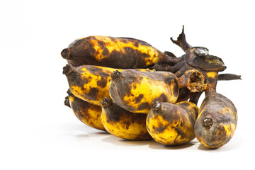 Rotten banana on white background