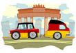 Funny cartoon car with a caravan in the colors of the German.
