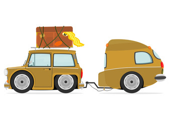Funny cartoon car with caravan. Vector