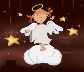 A cute little angel. A girl cartoon