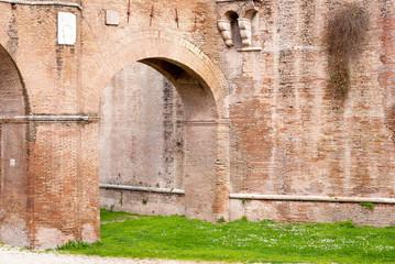 Antique brick passage in Rome, Italy