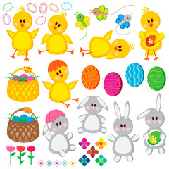 Set of Easter elements for your design.