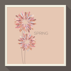Poster with abstract pastel-colored flower. Vector illustration