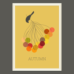 Colorful autumn poster with berries and bird