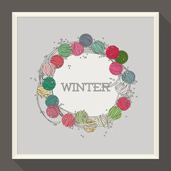 Abstract winter design with colorful beads. Vector illustration